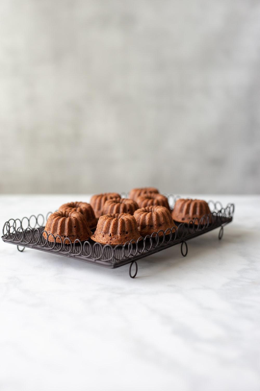brown bread on stainless steel rack