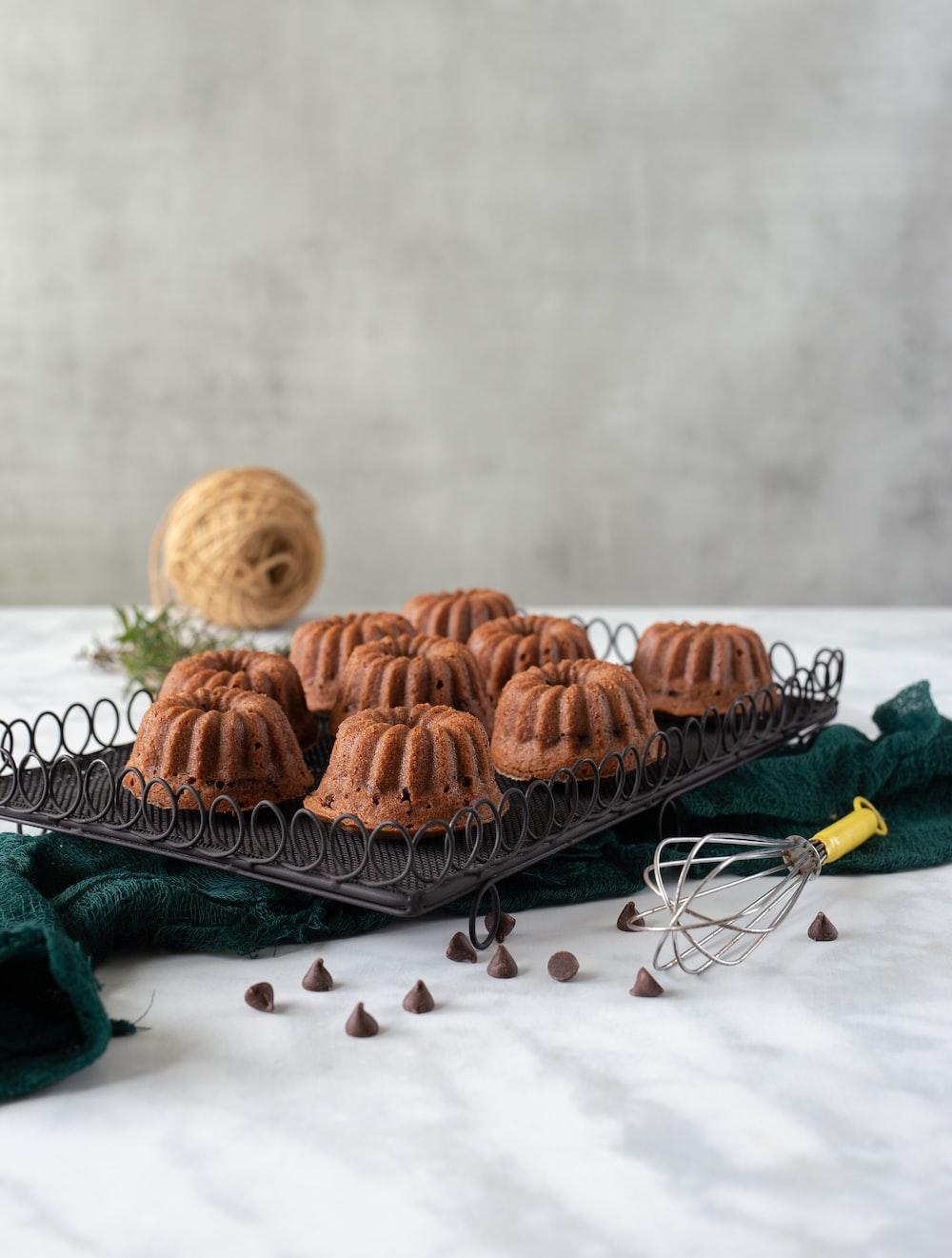 brown cookies on black tray