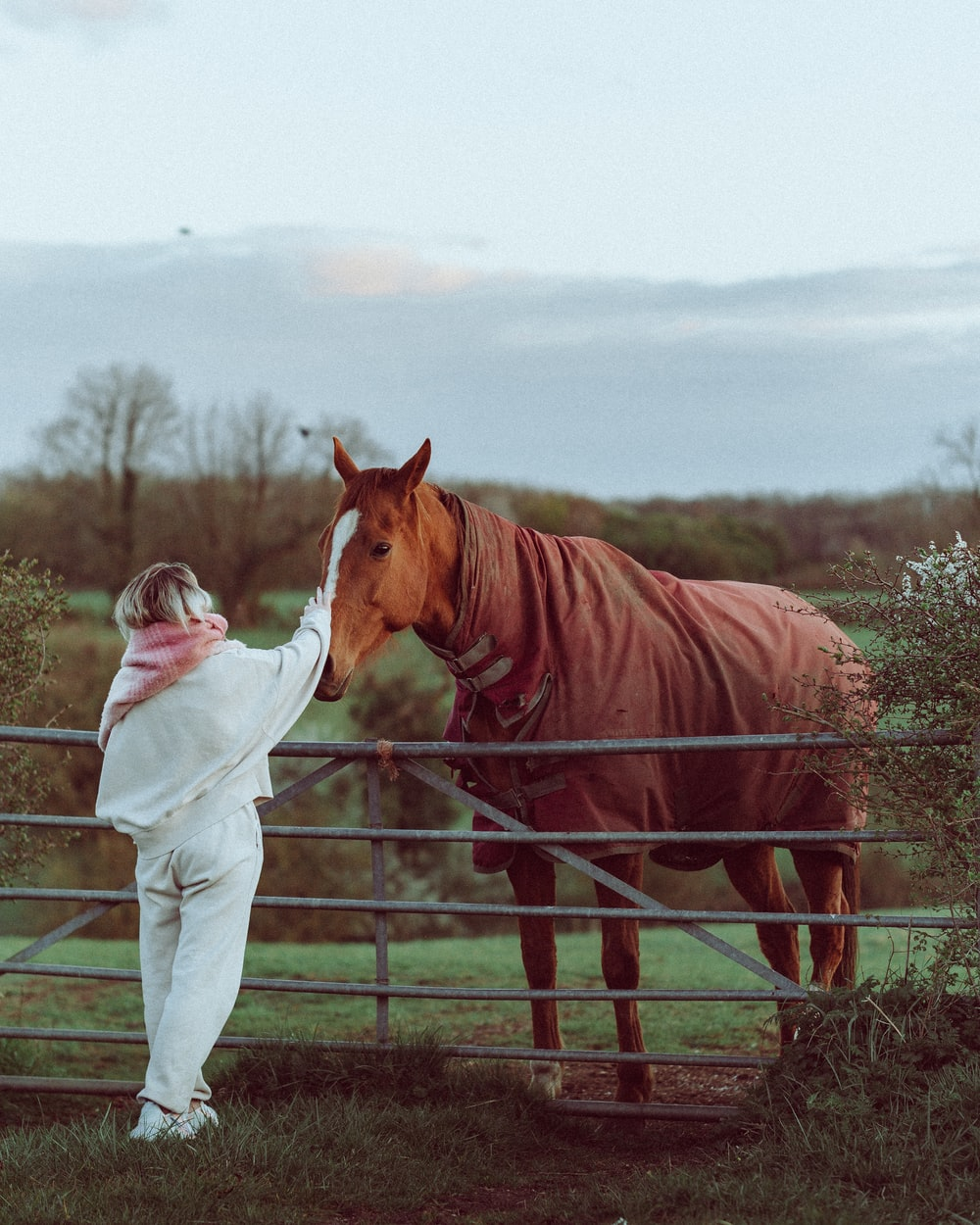 woman in white long sleeve shirt standing beside brown horse during daytime