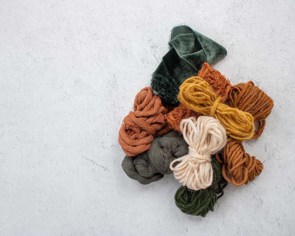 orange and black knit textile