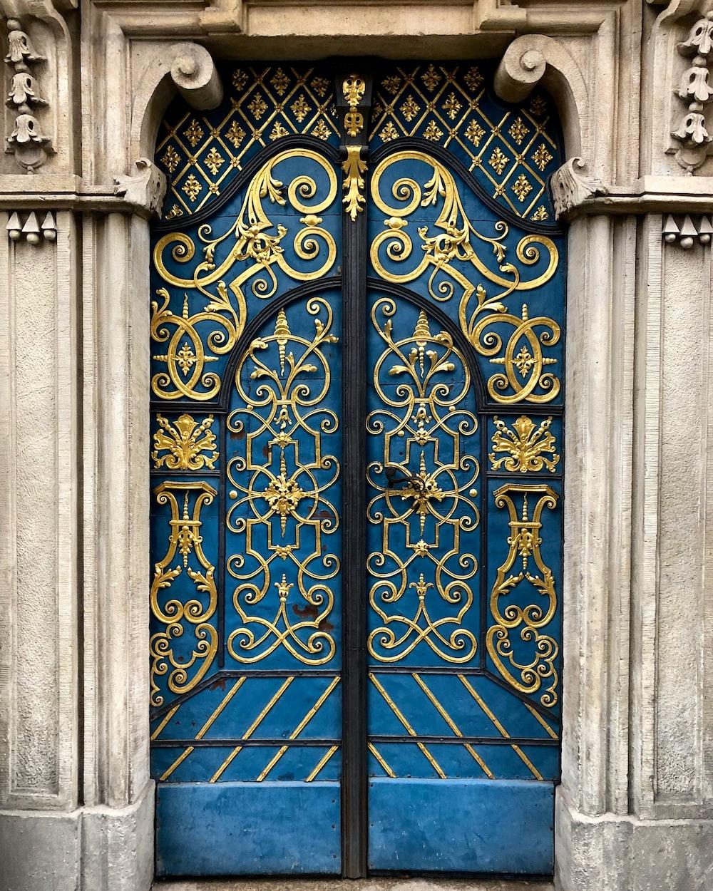 blue metal door with blue metal door