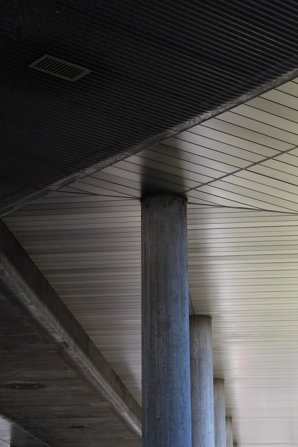 white and gray wooden ceiling