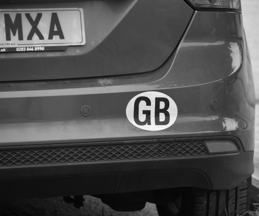 black and white 5 license plate