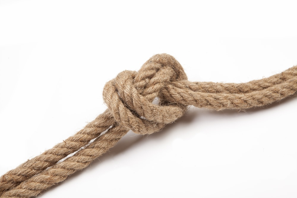 brown rope tied on white background
