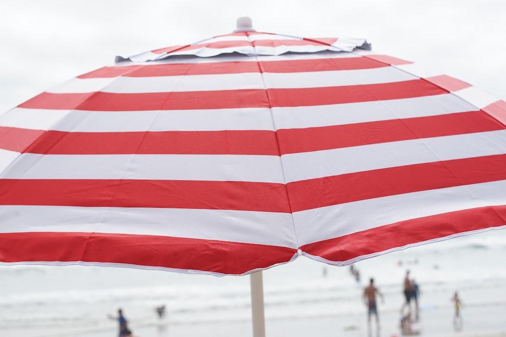 red and white striped umbrella