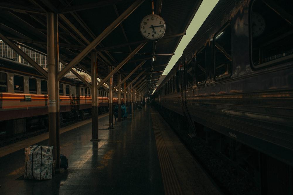white and black train station