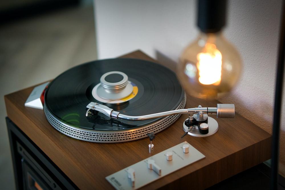 vinyl record on vinyl record player