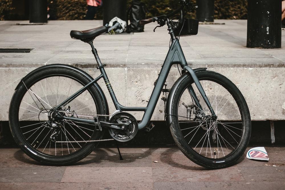 blue and black commuter bike