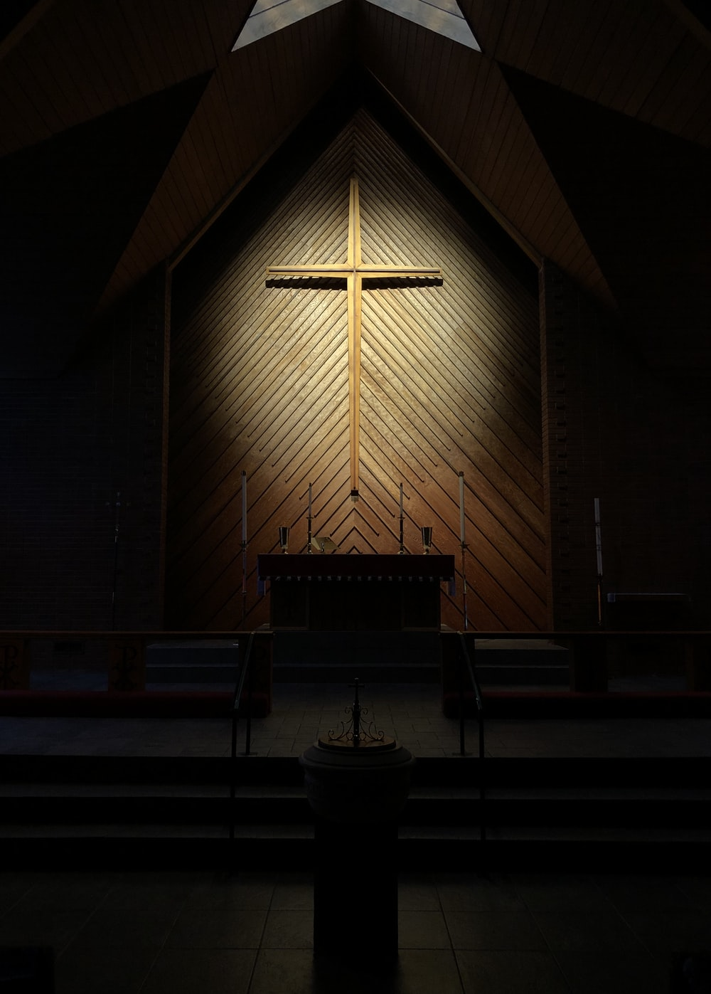 brown wooden bench in church