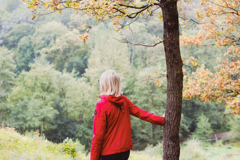 girl in red jacket standing beside brown tree during daytime