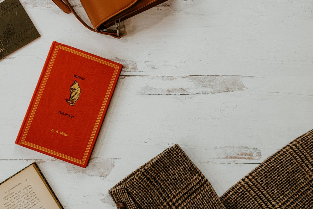 red book on white table