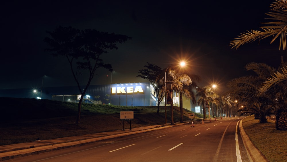 lighted street lights during night time
