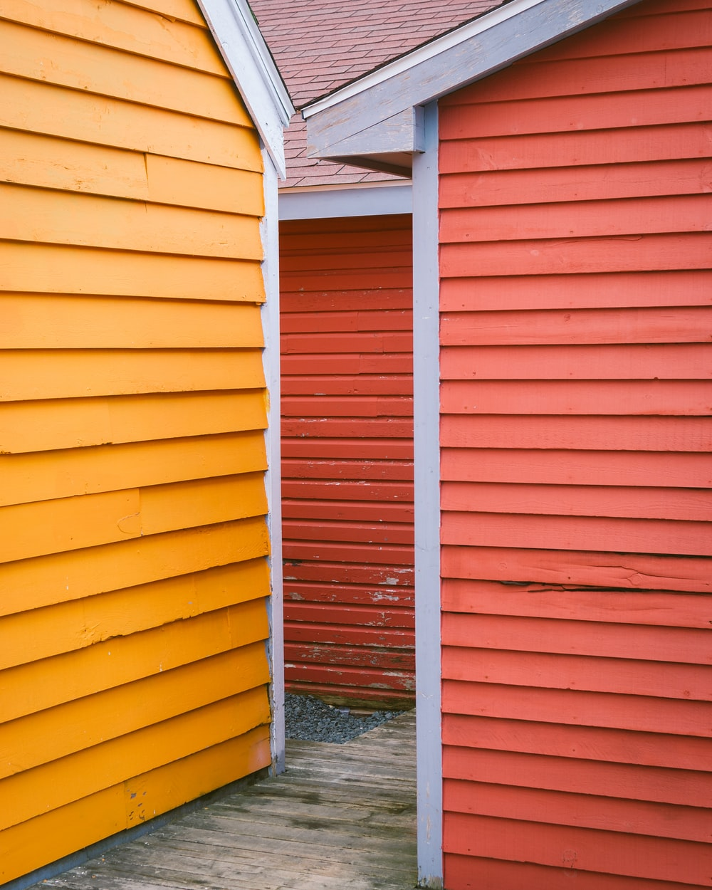 orange and white wooden wall