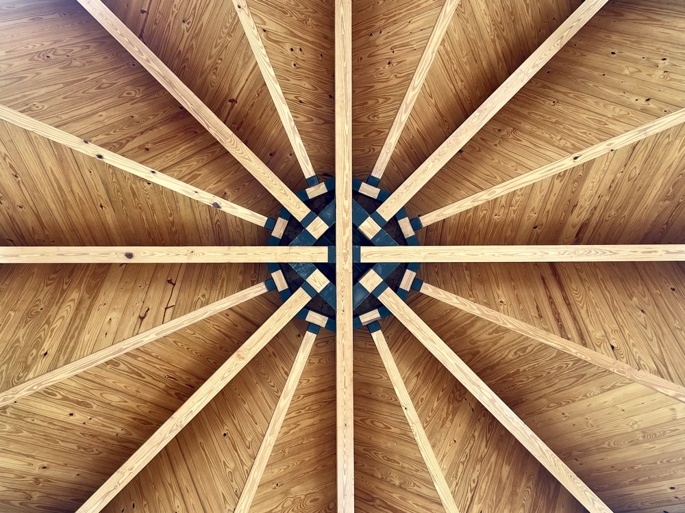 blue and brown wooden ceiling