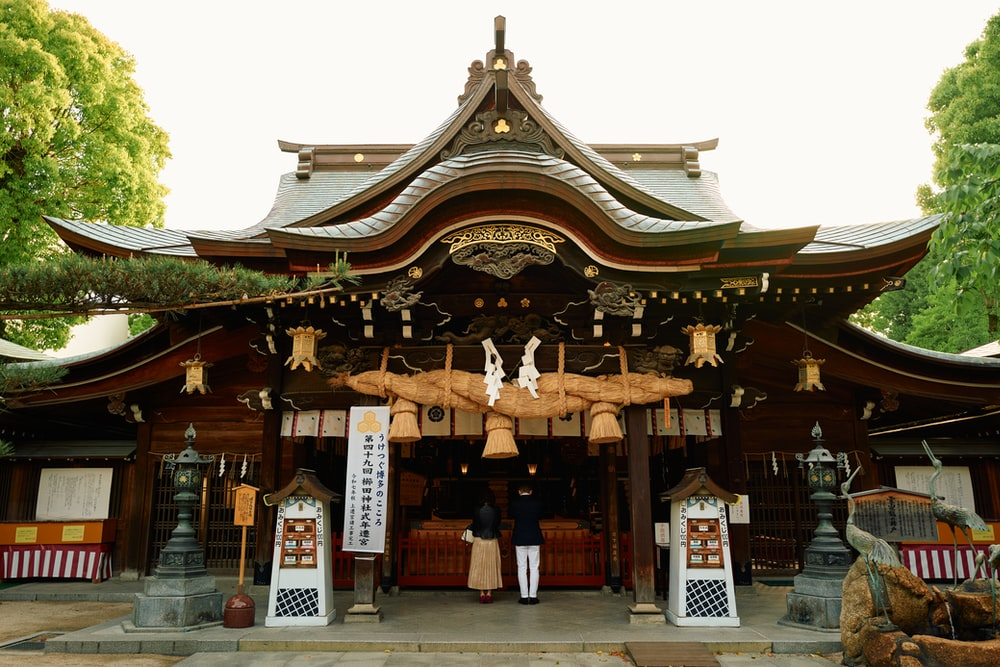 brown and white wooden temple