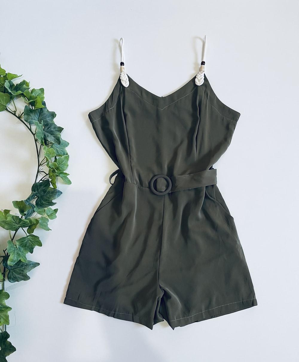black leather spaghetti strap dress