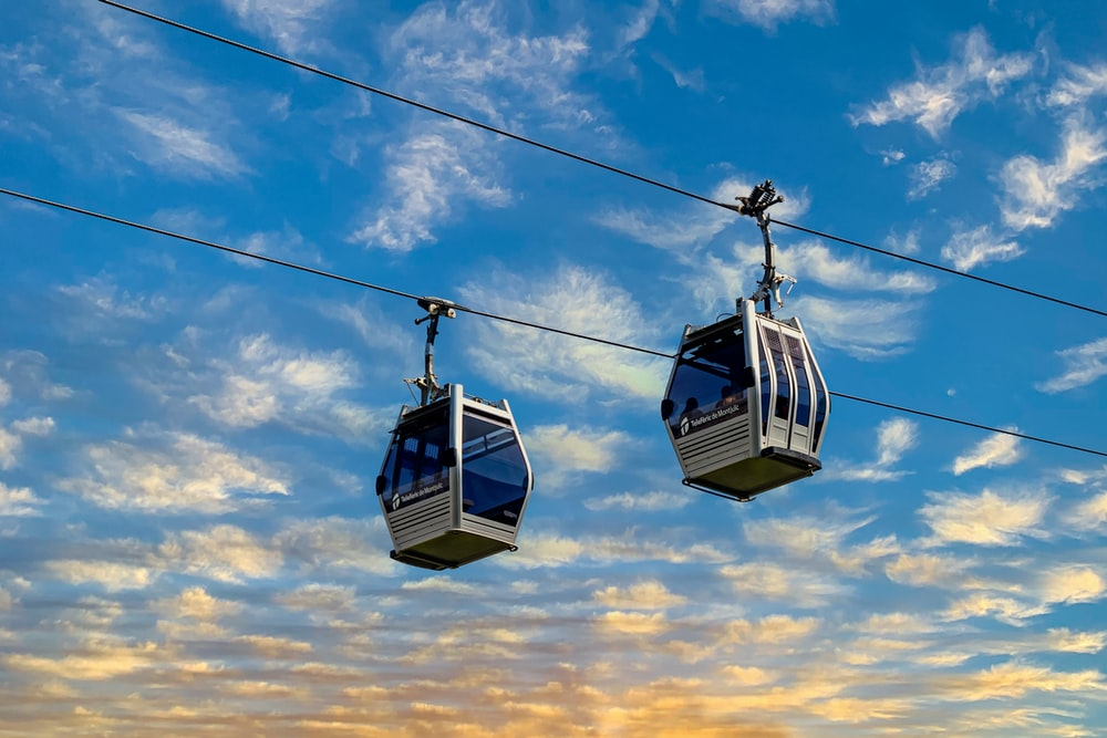 blue and black cable cars under blue sky during daytime