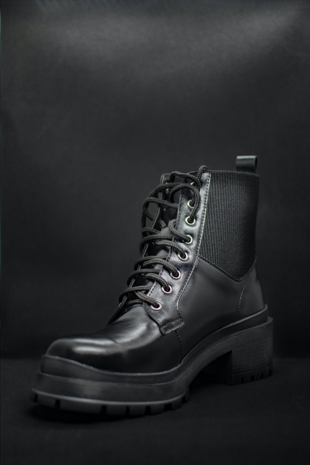 black leather lace up boot
