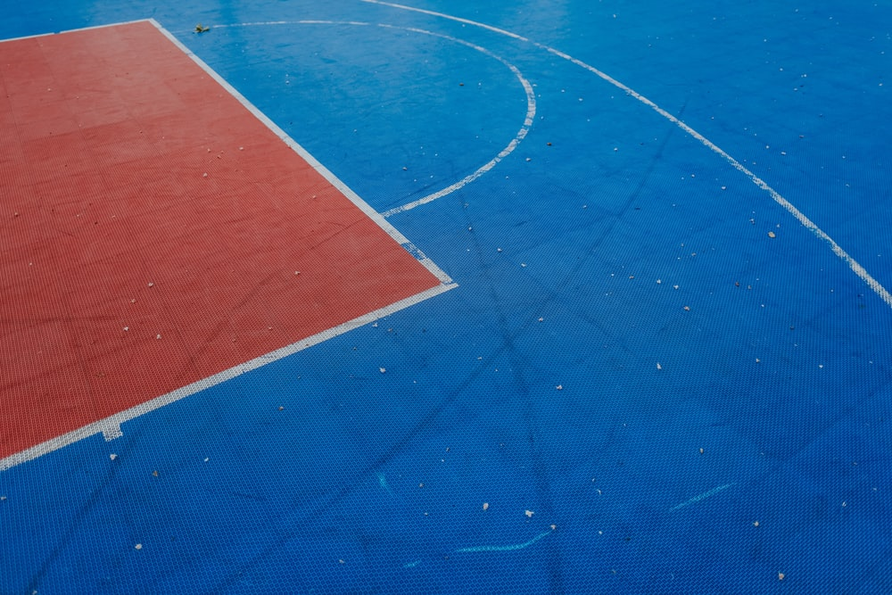 blue and red basketball court