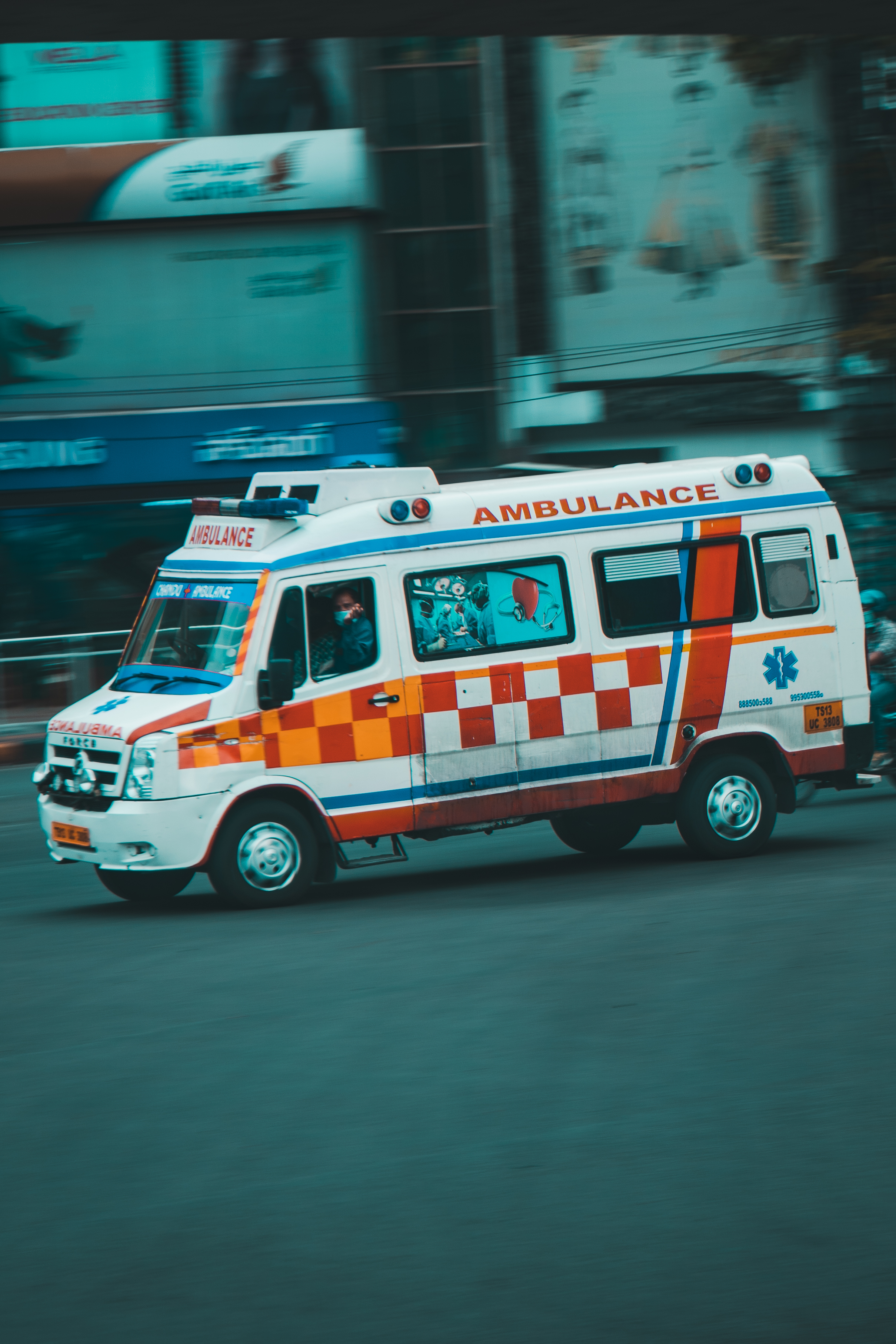 An ambulance rushing to the hospital in Hyderabad