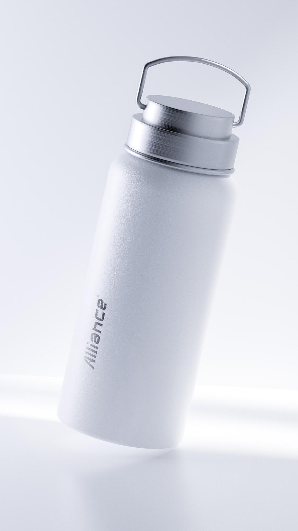 white and black plastic bottle