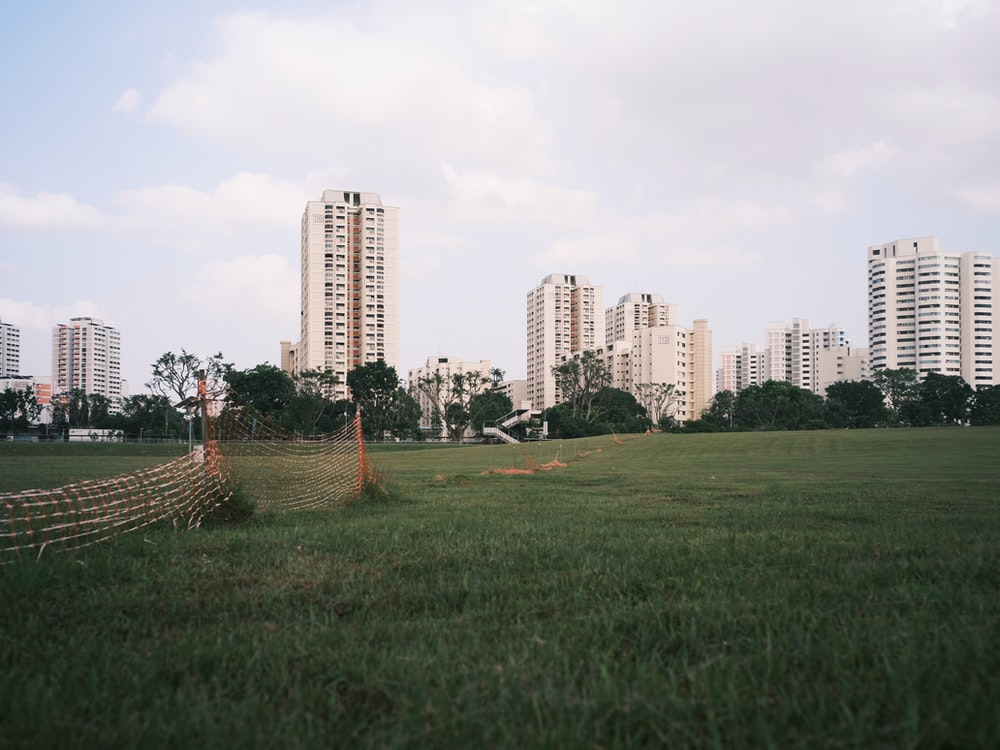 green grass field near city buildings during daytime