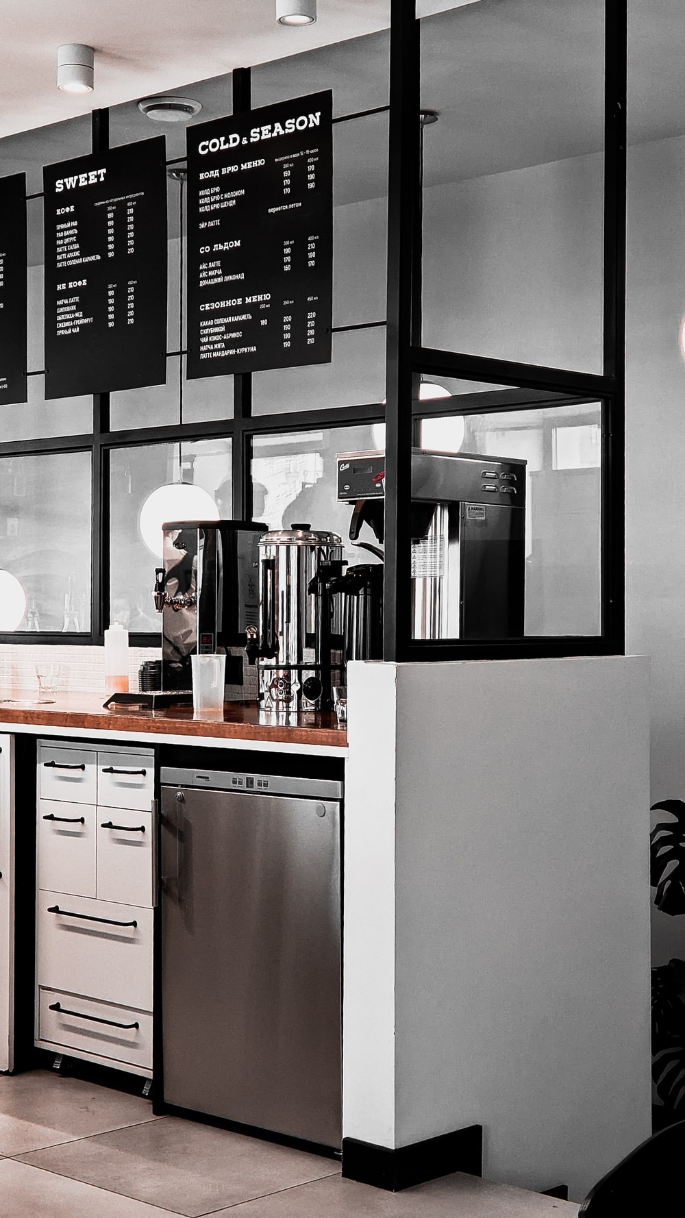 black and white wooden kitchen cabinet
