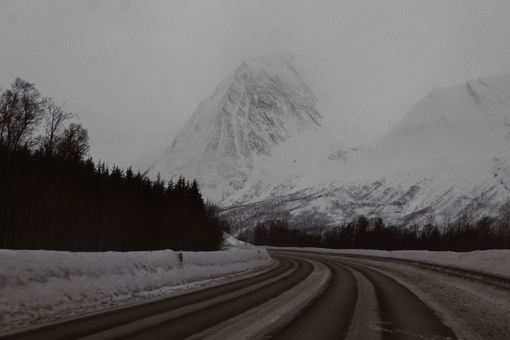 snow covered road near trees and mountain during daytime