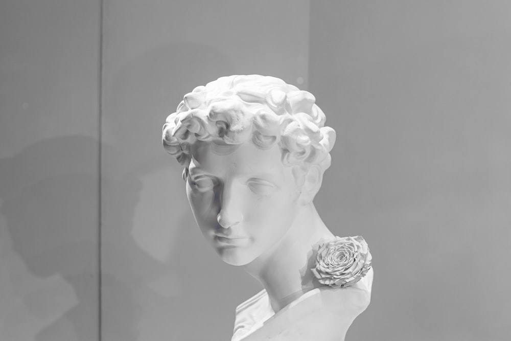 white ceramic bust of woman