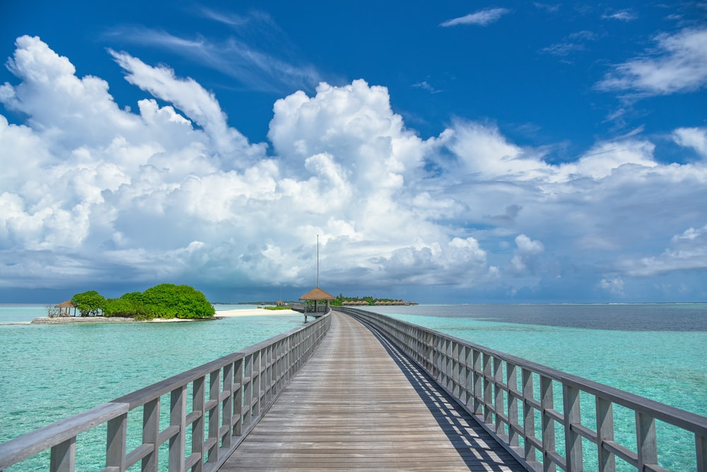 brown wooden dock on blue sea under blue and white cloudy sky during daytime