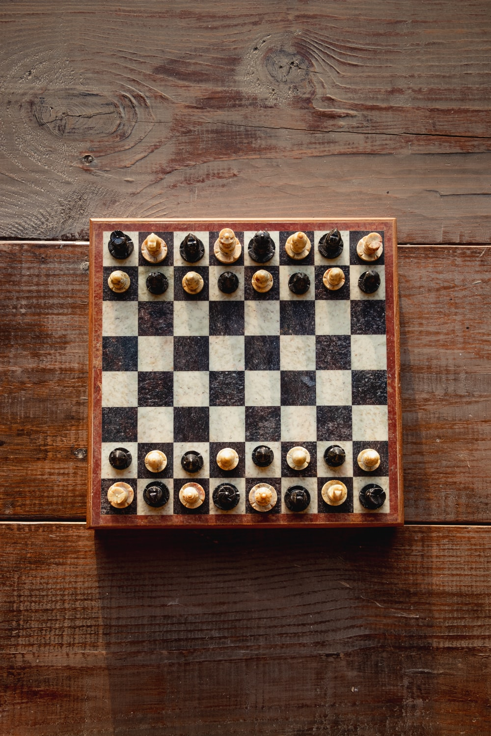 brown and white chess board game