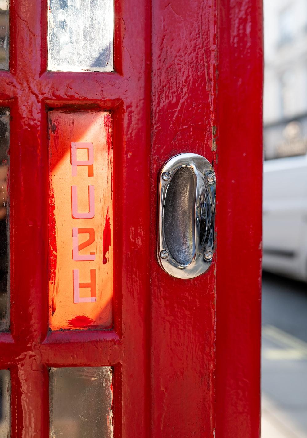 red and silver love print door handle
