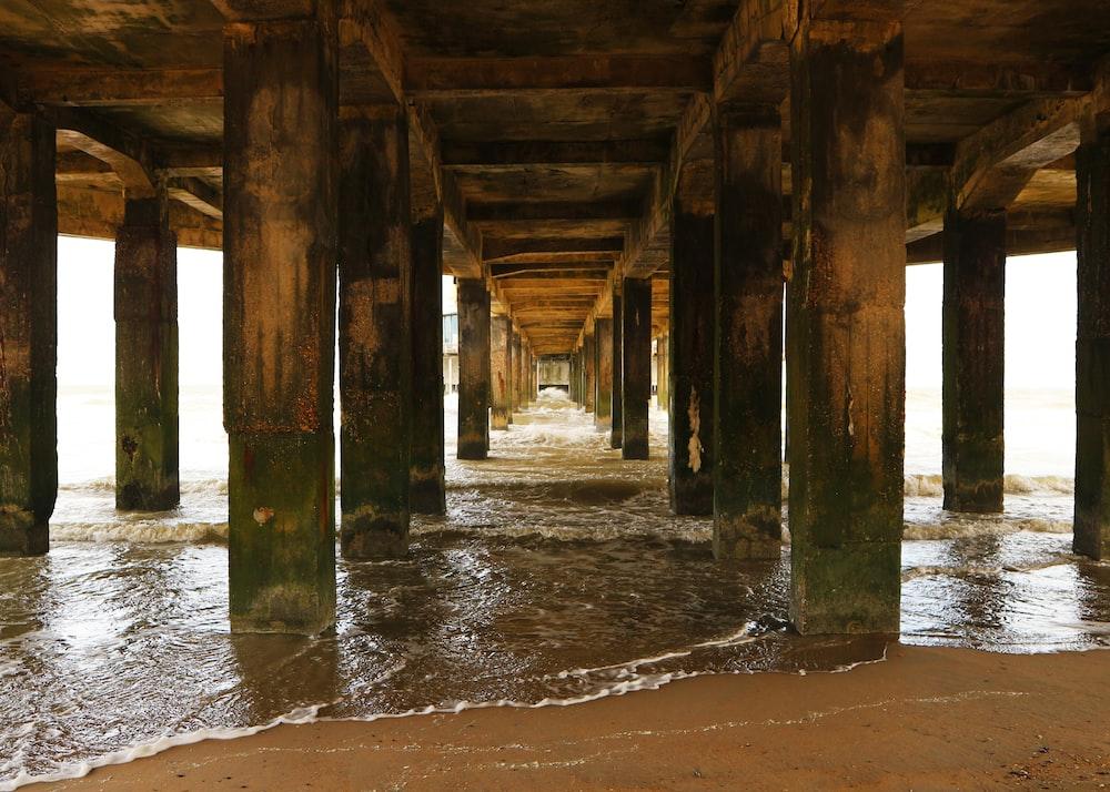 brown wooden dock on water