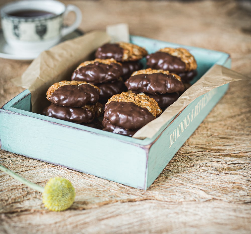 brown chocolate on white box