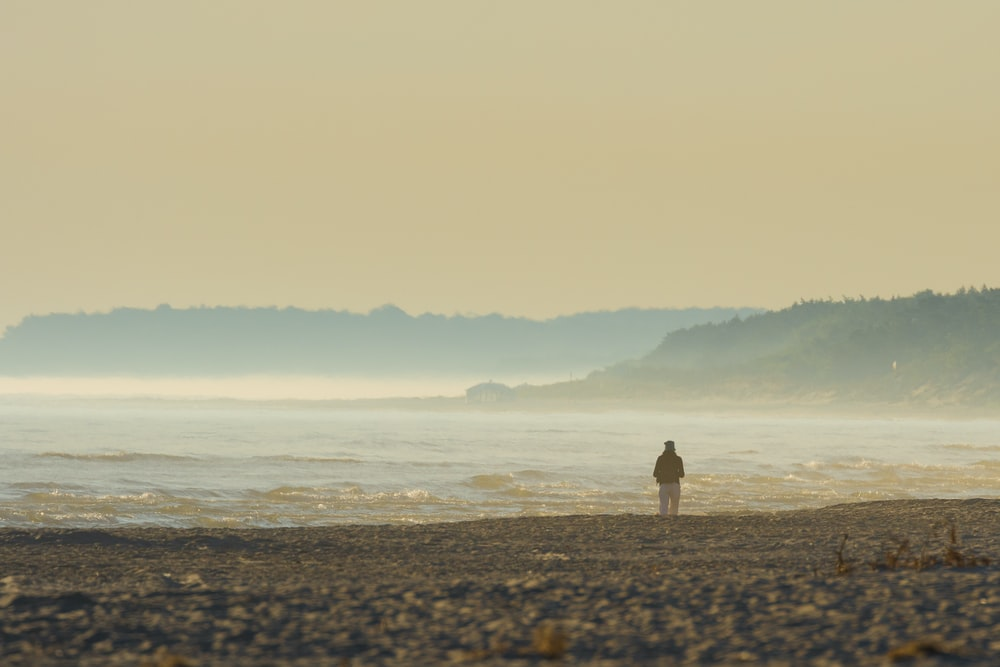 person standing on beach shore during daytime