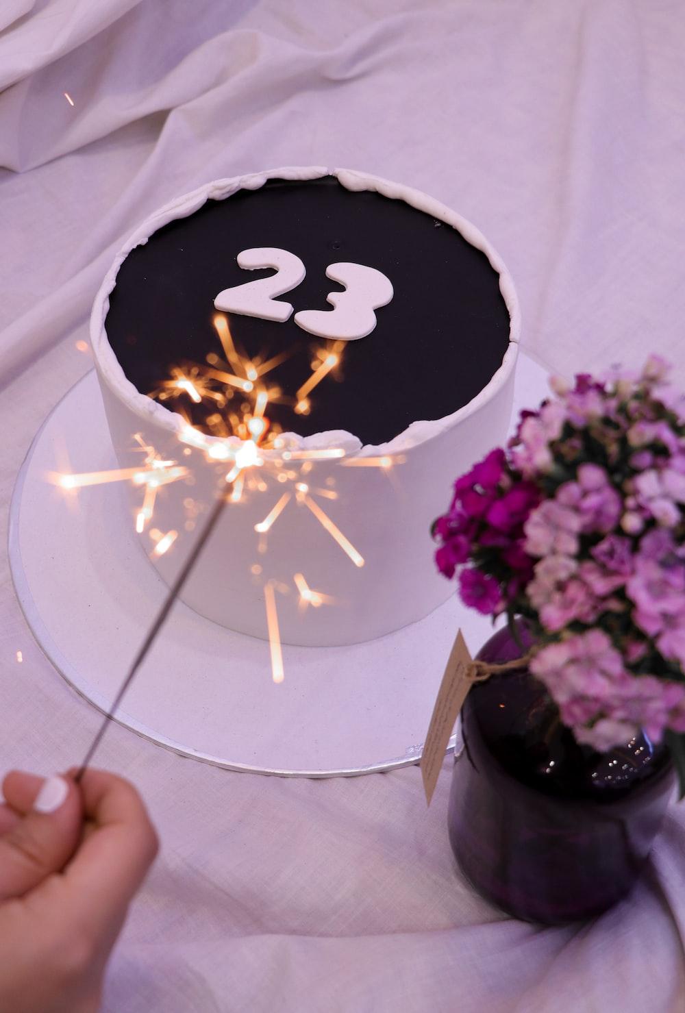white and black round cake
