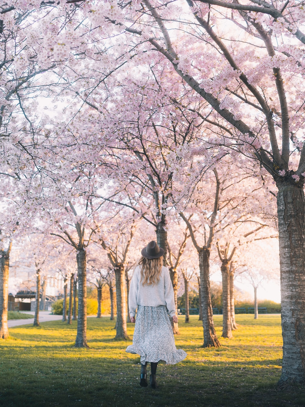woman in white dress standing on green grass field near bare trees during daytime