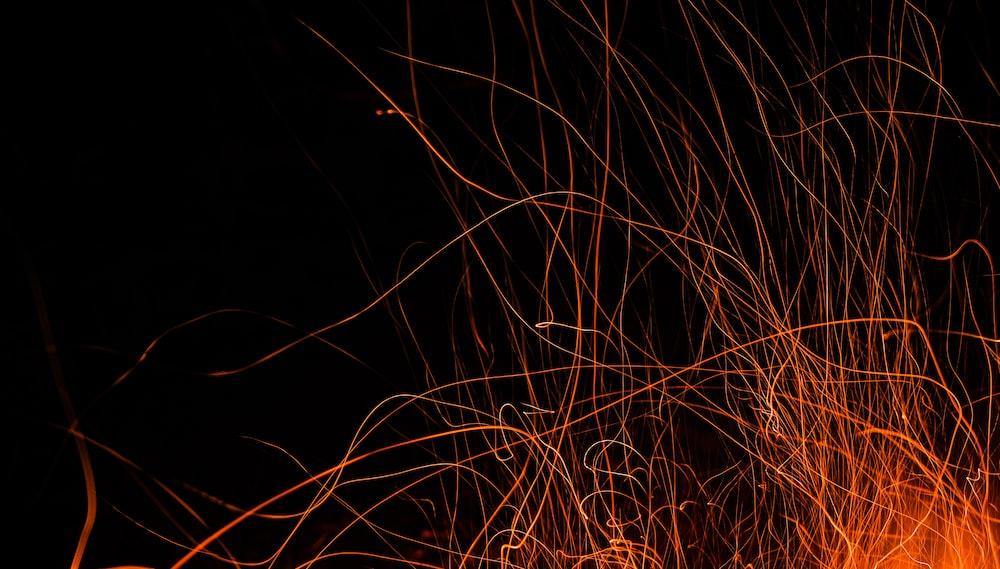 orange lights on black background