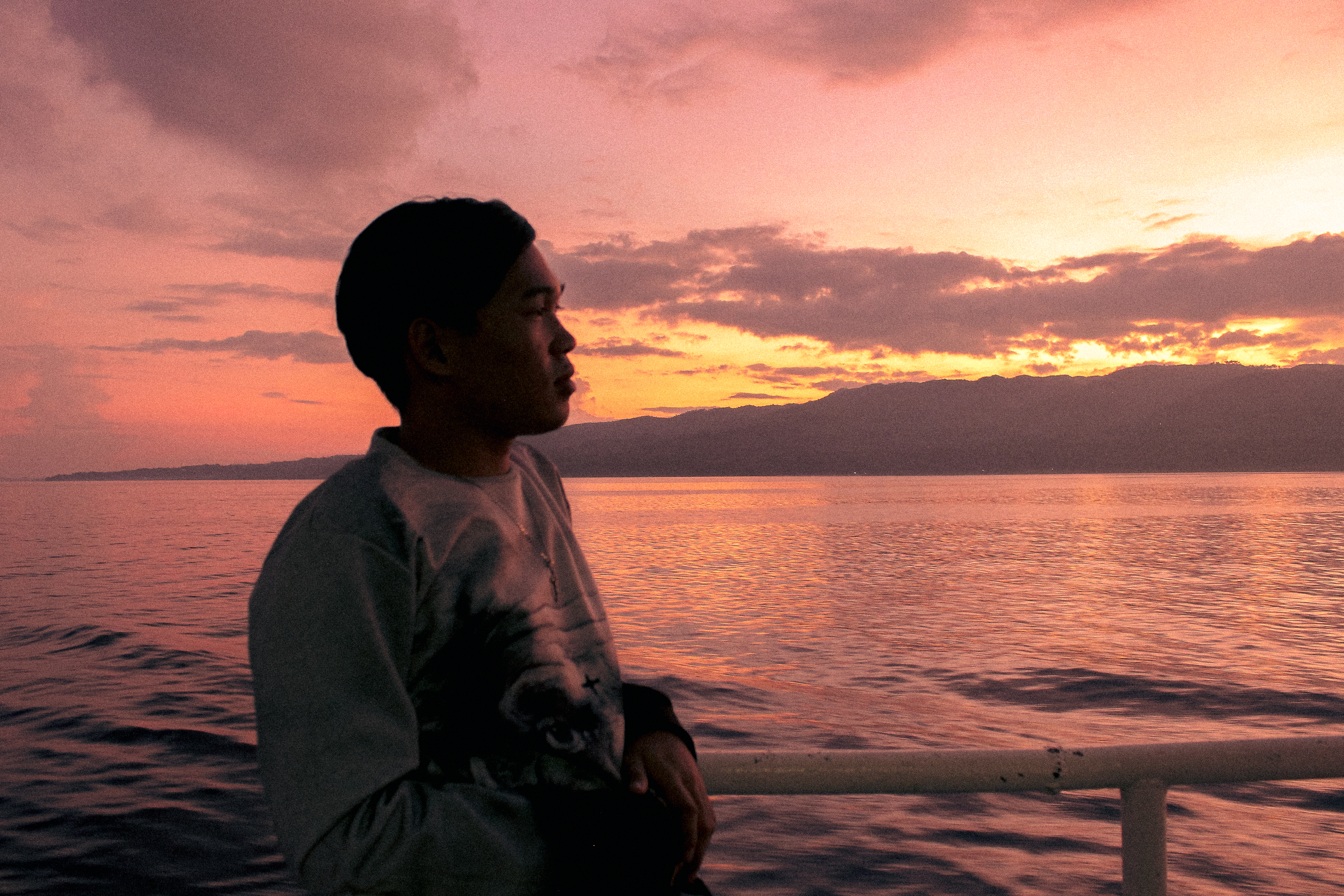 Trip to Bohol Philippines on a Ferry boat at sunrise.