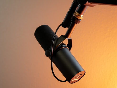 black and silver microphone on brown wall