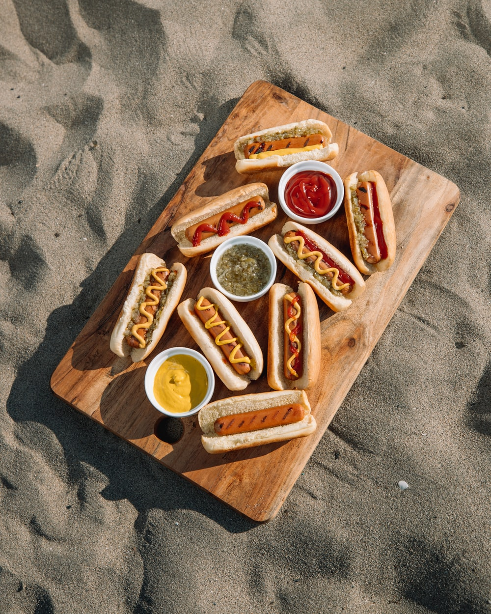 brown wooden tray with foods