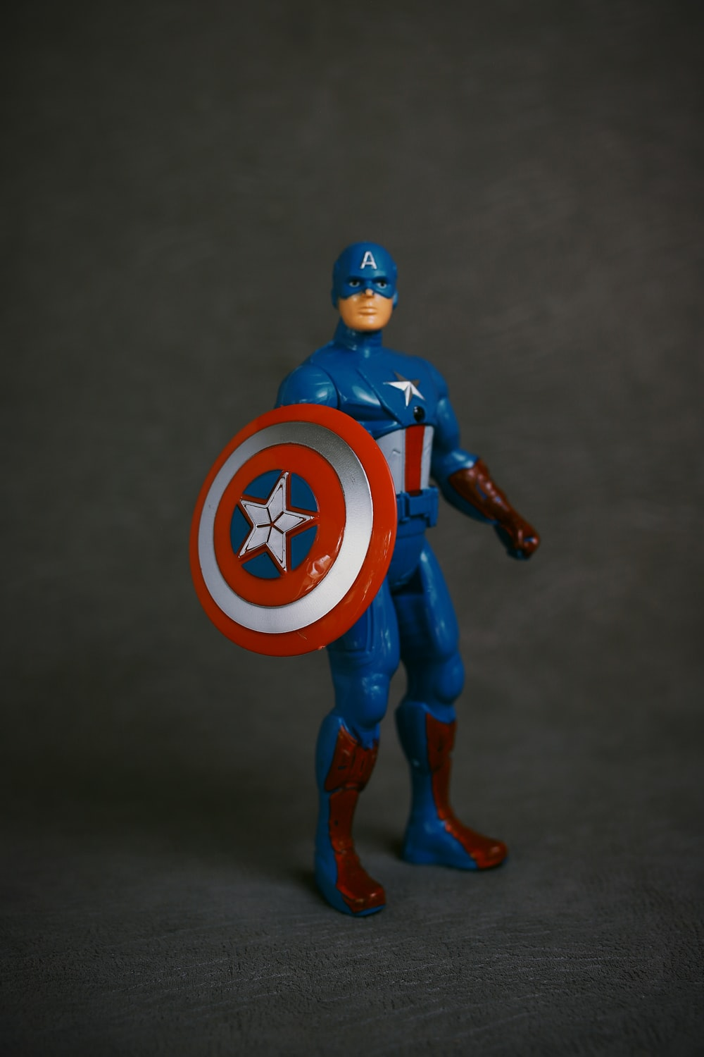 blue and red man action figure