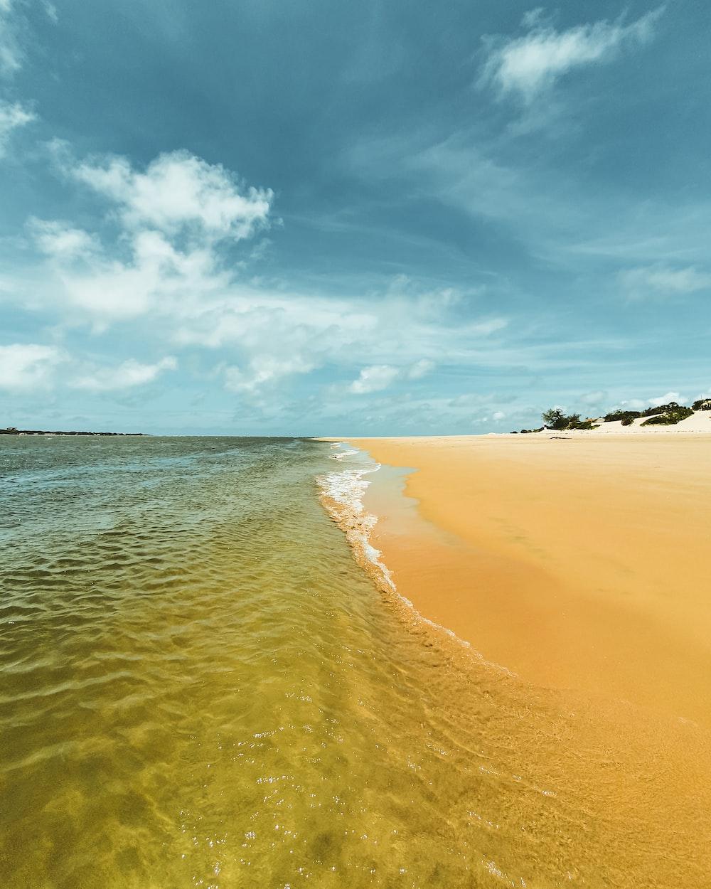brown sand beach under blue sky during daytime