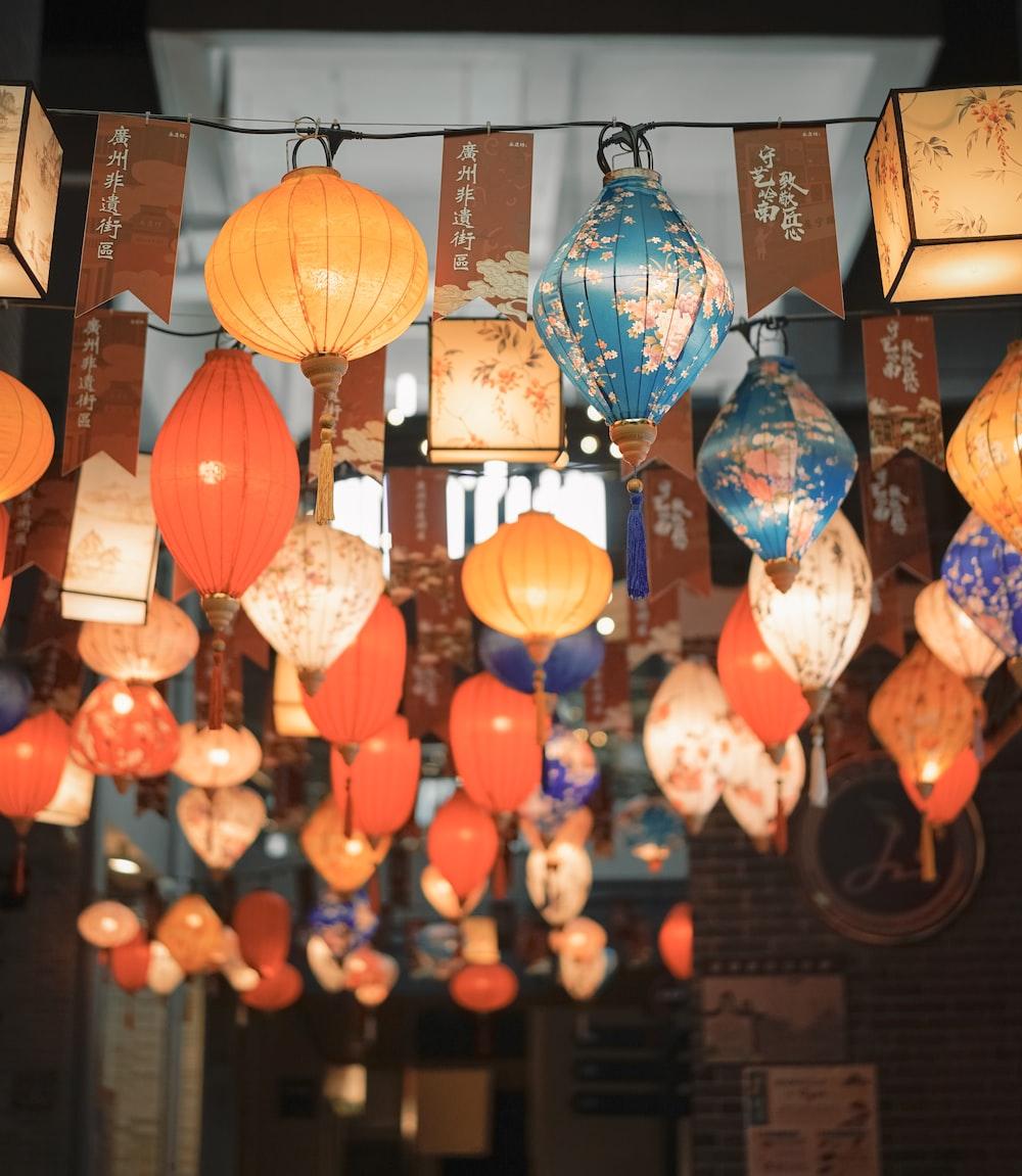 orange and blue pendant lamp