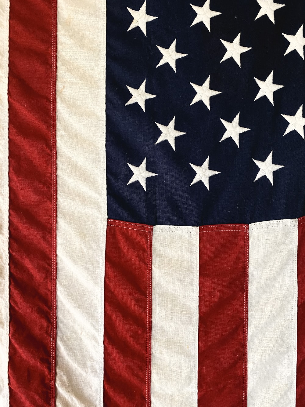 us a flag on red textile