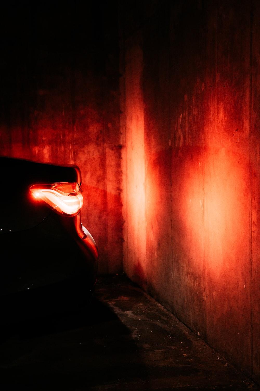 red light in a dark tunnel