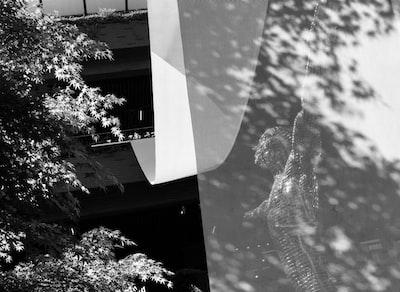 Shanghai grayscale photo of tree near building