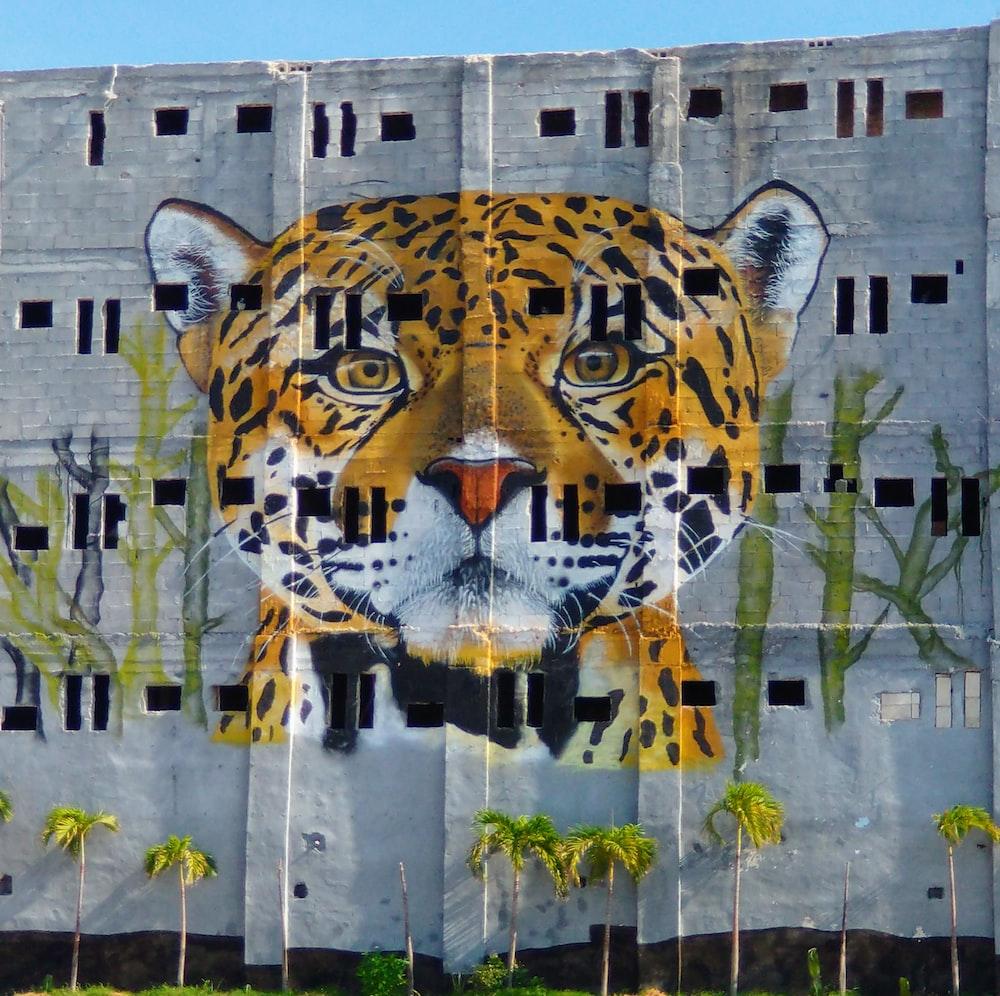 brown and black tiger graffiti