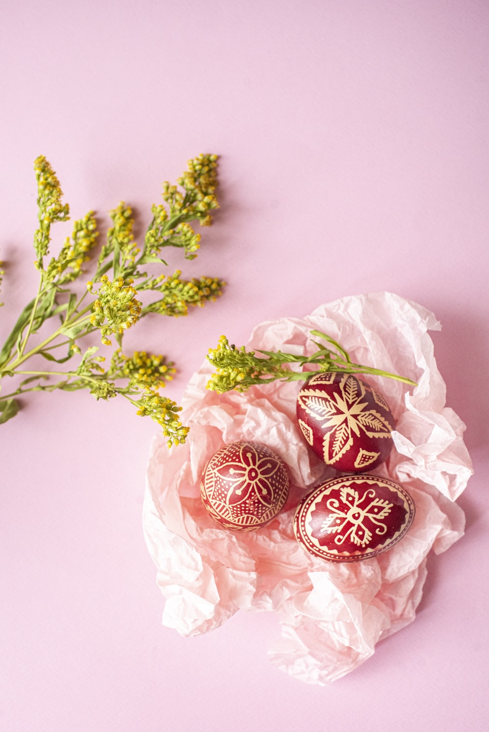 red and white floral ornaments