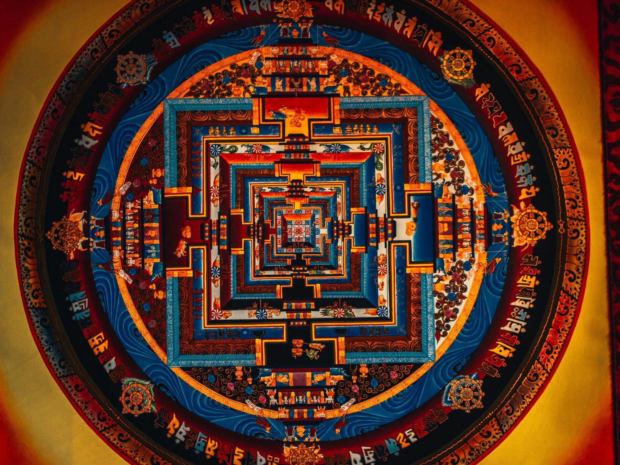 Colored Thanka Yantra buddhist arts in Kathmandu Nepal
